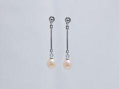 Pink Pearl Drop Bar Earrings