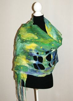 Nuno felted scarf   OOAK Art to Wear Green Yellow  by beatassoul, $127.00