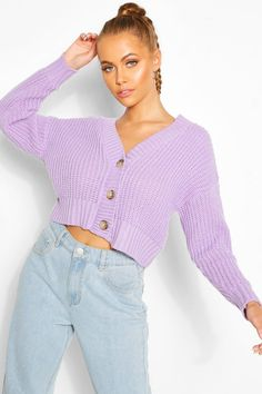 Womens Chunky Knit Crop Cardigan - Purple - S Grunge Outfits, Lila Outfits, Retro Outfits, Cute Casual Outfits, Fashion Outfits, Purple Cardigan Outfits, Purple Outfits, Purple Sweater, Black And White Outfit