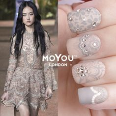 LACE TREND REPORT To create the Elie Saab's romantic look we used the following nail art tools:  Nail lacquers: Café au lait & White Knight.   Nail art plates: Fashionista #17, Bridal #06 & Flower Power #12  Crystals: Halo Crystal & Royal Crystal.