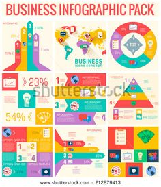 collection of 9  business flat infographic elements set for design in vintage colors. Vector illustration concept