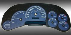 Motor City Blue Gauge Overlay for Chevy Tahoe, Silverado,  Avalanche GMC Yukon