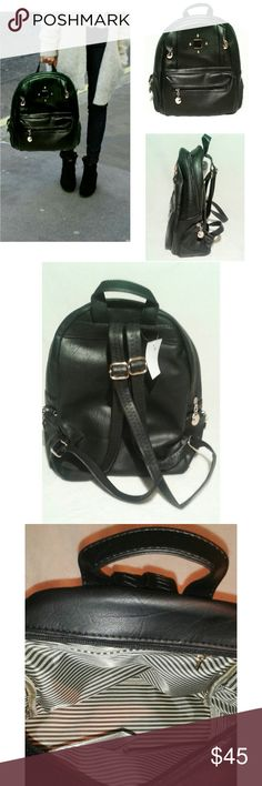 "Black Vegan Leather Backpack/ Handbag Brand new Vegan leather handbag.  Width: 15"" Ht: 13.5"" Adjustable straps. 3 outer pockets, 3 inner pockets. Striped interior design. Gold plate center exterior design. Other colors coming soon! Same day shipping. Bags"