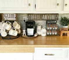 ideas home bar room coffee area Coffee Station Kitchen, Coffee Bars In Kitchen, Coffee Bar Home, Home Coffee Stations, Coffe Bar, Farmhouse Kitchen Decor, Kitchen Redo, Kitchen Remodel, Country Kitchen