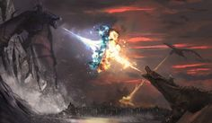 Clash of fire and ice, Sergio Roman Drogon Game Of Thrones, Game Of Thrones Saison, Game Of Thrones Artwork, Game Of Thrones Dragons, Ice Dragon Game Of Thrones, Fantasy Creatures, Mythical Creatures, Game Of Throne Poster, Fire And Ice Dragons