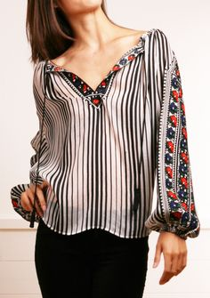 John Paul Gaultier black and white sheer striped embroidered peasant blouse