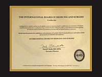 IBMS - International Board of Medicine and Surgery - Certification Plaque