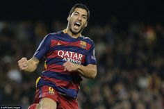 Luis Suarez celebrates after grabbing Barcelona's second of the night against Bate Borisov at the Nou Camp on Wednesday night