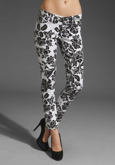 AG ADRIANO GOLDSCHMIED Ankle Legging in White/Black Floral Graphic at Revolve Clothing