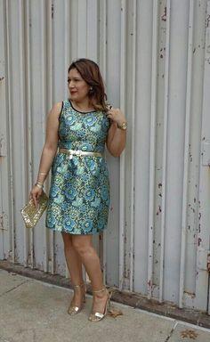 Xhilaration metallic print dress from @target  Gold belt from @target  Cosmopolitan gold strap heels fro. Resale shop. Victoria Secret gold sequin clutch is also from resale shop.