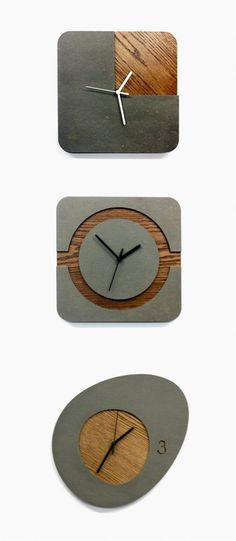 34 Wooden Wall Clocks To Warm Up Your Interior (Concrete Furniture Designs) Kitchen Wall Clocks, Rustic Wall Clocks, Wood Clocks, Antique Clocks, Concrete Crafts, Concrete Wood, Diy Clock, Clock Decor, Wall Decor