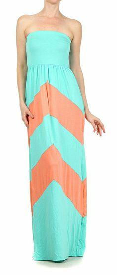 Mint + Apricot/Coral Maxi Dress