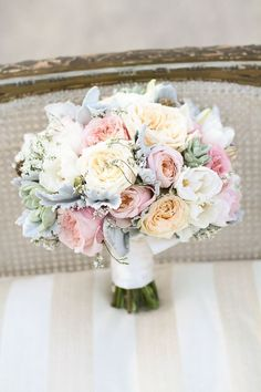 Soft pastel bouquet | On Style Me Pretty: http://stylemepretty.com/2013/03/22/wrap-it-up-pretty-prim-pixie-styled-shoot-winners |    Jennifer Ebert Photography