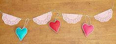 Felt Heart and Doily Garland