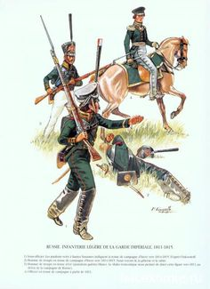 Guard Light Infantry (Jagers), 1811-15. NCO (foreground), Jager and mounted Officer