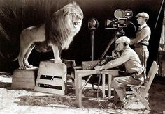 Shooting the video footage for the original MGM lion. 1924