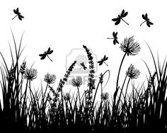 Illustration of Vector grass silhouettes background. vector art, clipart and stock vectors. Grass Silhouette, Flower Silhouette, Animal Drawings, Art Drawings, Silhouettes, Dragonfly Art, Garage Art, Botanical Drawings, Wildlife Nature