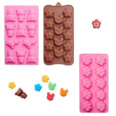 Poproo Bear Shaped Silicone Candy Molds Jello Chocolate Mold Ice Cube Tray - Bear Figure, Head, Paw Print (Set of 3) * Discover this special product, click the image : baking essentials