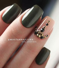 Make an original manicure for Valentine's Day - My Nails Cute Nails, Pretty Nails, My Nails, Nails Today, Green Nail Designs, Cool Nail Designs, Maroon Nails, Nagel Blog, Luxury Nails