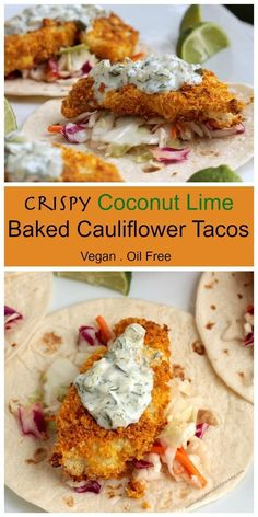 Crispy Coconut Lime Baked Cauliflower Tacos - the CRISPIEST baked cauliflower you've ever had is the start of these amazing tacos! The combination of sweet and sour slaw, crispy baked cauliflower and creamy tangy tartar sauce is a flavor and texture explosion in your mouth! #vegan #dairyfree #cauliflower #coconut #tacos