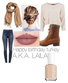 """☺ birthday to my best fri..turkey"" by vtorres0003 on Polyvore featuring beauty, Charlotte Russe, H&M, J Brand and Essie"