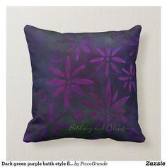 Dark green purple batik style floral pattern fleec throw pillow Personalized Buttons, Batik Pattern, Green Home Decor, Home Decor Online, Custom Pillows, Green And Purple, Mothers, Lavender, Artsy