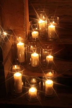 Need to consider how candles and other light will reflect off of the glass containers that the candles are in