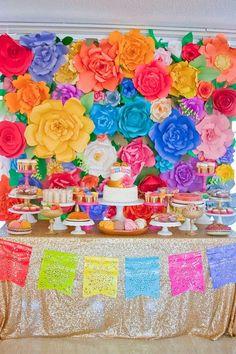 Montando minha festa: Ideias de decoração com as flores gigantes de papel!