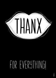 Bedank kaart - FDBCK cards - tekst thanks for everything (Voorzijde)