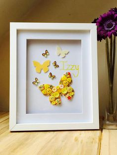 Girls BedroomButton Art Butterfly Frame Girls by ButtonItCrafts