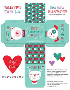 A FREE printable Valentine Gift box from me! Nina Seven, illustrator and surface designer