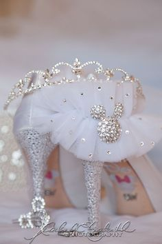 Disney Wedding! Garter, Shoes, and bouquet pin! Love! Love! Love!