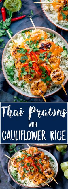 Thai Prawns With Cauliflower Rice is asuper delicious lighter meal, packed with flavour, ready on the table in under 20 minutes AND under 300 cals. #lowcaldinner #52diet #lowcaloriemeal #thaiprawns #cauliflowerrice via @kitchensanc2ary