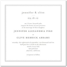 Thermography Wedding Invitations Pure Style - Front : TH Charcoal