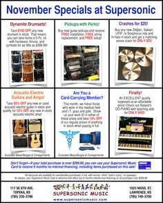 November's Specials: Great Offers on Drumsets, Cymbals, Electric-Acoustic Guitars & Amps, New Pickups, Keyboards, and MORE! Check it out...