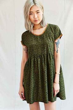 Urban Renewal Remade Printed Collar Babydoll Dress - Urban Outfitters
