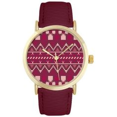 Jessica Carlyle Dark Red Womens Aztec And Gold-Tone Watch - Women's ($18) ❤ liked on Polyvore featuring jewelry, watches, dark red, tribal jewellery, aztec watches, gold-tone watches, aztec jewelry and gold tone watches