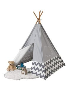 KidKraft Modern Gray Teepee with Chevron Walmart Shopping, Hanging Chair, Toddler Bed, Canvas, Furniture, Jouer, Imagination, Play, Simple