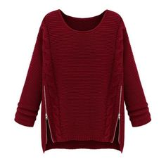 SheIn(sheinside) Wine Red Long Sleeve Side Zipper Cable Knit Sweater (80 PLN) ❤ liked on Polyvore featuring tops, sweaters, sheinside, burgundy, loose pullover sweater, red sweater, zipper sweater, embellished sweater and long sleeve sweaters