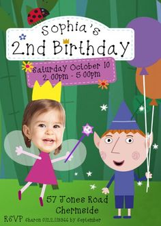 Ben and Holly's Little Kingdom invitation, Ben & Holly Invitation, Ben and Holly Party, birthday, girl or boy birthday invitation 5th Birthday Party Ideas, Fairy Birthday Party, Photo Invitations, Printable Birthday Invitations, Baby Birthday, Ben And Holly Party Ideas, Ben And Holly Cake, Ben E Holly, Party Kit