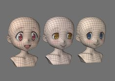 3d anime face topology texture toon