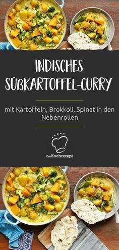 Wer auf indische Currys steht, wird dieses Süßkartoffel-Curry lieben! Neben den Süßkartoffeln spielen Kartoffeln, Brokkoli und auch Spinat die glorreichen Nebenrollen. Verfeinert wird das Curry mit Chili, Kurkuma und Zitrone. #daskochrezept #sweetpotato #kumara #suesskartoffel #rezepte #curry #chili #kurkuma #brokkoli #zitrone #spinat #indisch Veggie Recipes, Indian Food Recipes, Ethnic Recipes, Chana Masala, Ayurveda, Healthy Cooking, Food Inspiration, Vegan, Food Porn