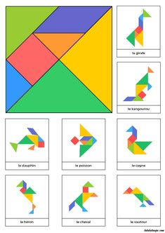 Tangram to print in color with 8 animal models - Anna Giné Roda - - Tangram à imprimer en couleur avec 8 modèles d'animaux Tangram to print in color with 8 models of animals -Model a inprimer Montessori Activities, Learning Activities, Preschool Activities, Kids Learning, Tangram Puzzles, Math For Kids, Math Games, Kids Education, Kids And Parenting