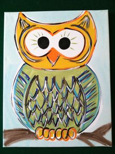 Peery Owl Painting - This would be a cute painting for a paint party.