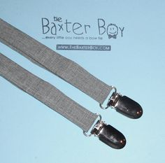 Light grey polyester suspenders for little boys - photo prop, wedding, ring bearer, accessory