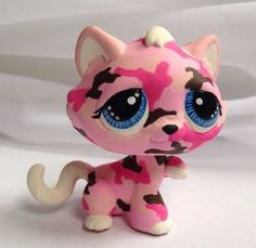 HobbyMomCustoms Littlest pet shop * Pink Camo Kitty * Custom Hand Painted LPS Cat OOAK #Hasbro