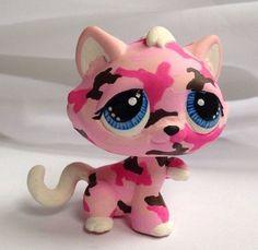 Littlest pet shop * Pink Camo Kitty * Custom Hand Painted LPS Cat OOAK #Hasbro