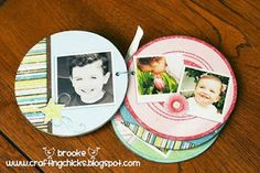 Circle Template Mini Album - free templates on this post - use your photos to create albums to give as gifts. This is a quick, easy & inexpensive gift to make.
