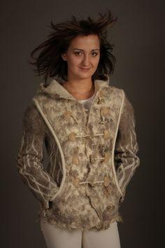 The game of winds / Felted Clothing Short / Coat by LybaV on Etsy, $600.00