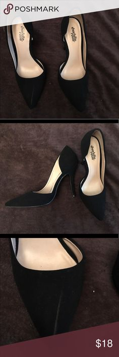 Charlotte Russe Suede Heels Black pointy toe heels. Worn only once, but scuffed on the side of one shoe (pictured). Charlotte Russe Shoes Heels